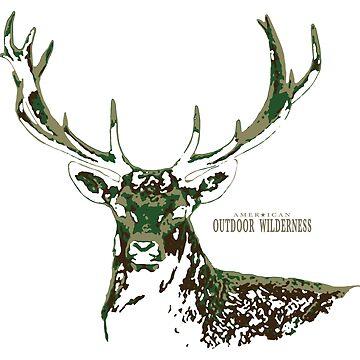 Deer Camo / American Outdoor Wilderness by sandersart