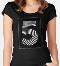 Typography Number Five 5 Grunge Black and White Stripes Women's Fitted Scoop T-Shirt