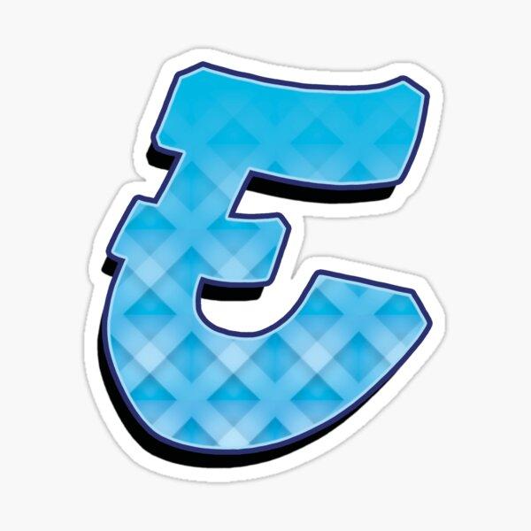 E - Blue striped Sticker
