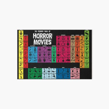 Periodic Table of Horror Movies Art Board Print