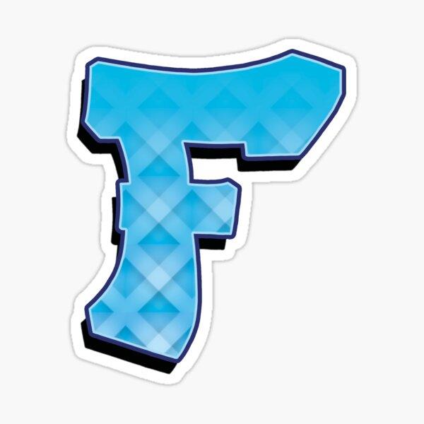 F - Blue striped Sticker