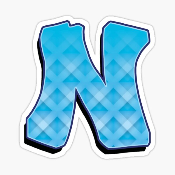 N -Blue striped  Sticker