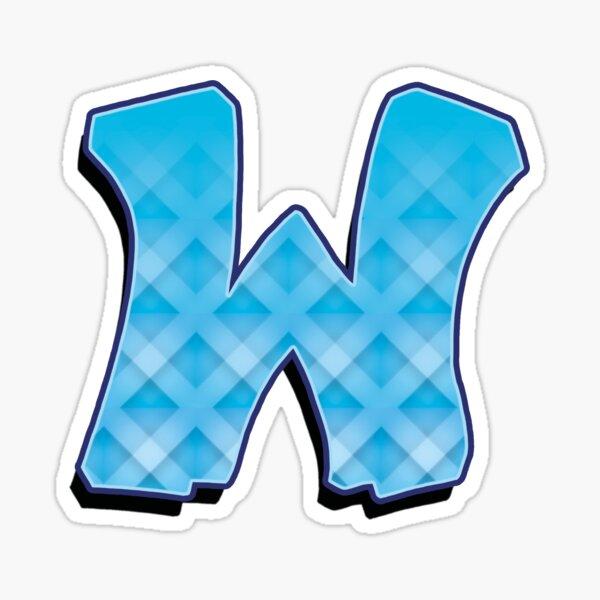 W - Blue striped  Sticker