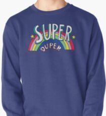 Super Duper Hand gezeichnete Siebziger-Art-Regenbogen-Grafik Sweatshirt