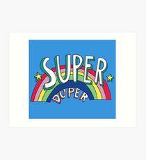 Super Duper Hand Drawn Seventies Style Rainbow Graphic Art Print