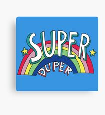 Super Duper Hand Drawn Seventies Style Rainbow Graphic Canvas Print