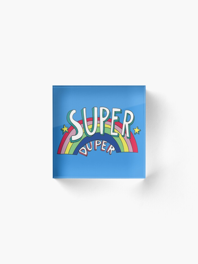 Alternate view of Super Duper Hand Drawn Seventies Style Rainbow Graphic Acrylic Block