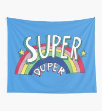 Super Duper Hand Drawn Seventies Style Rainbow Graphic Wall Tapestry