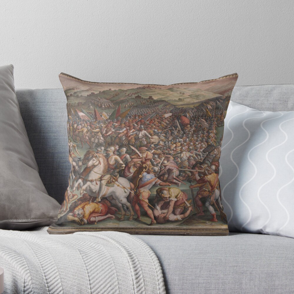 Classic Art The battle of Marciano in Val di Chiana By Giorgio Vasari Throw Pillow