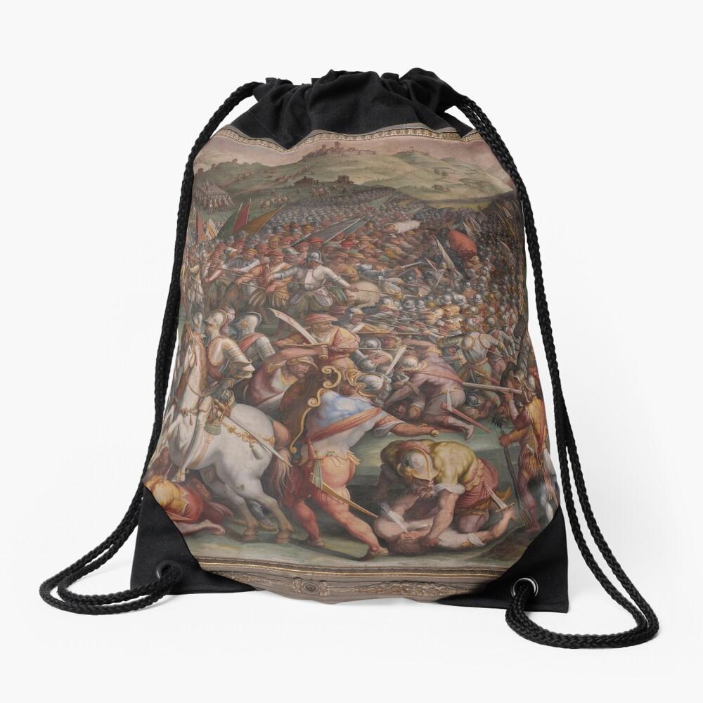 Classic Art The battle of Marciano in Val di Chiana By Giorgio Vasari Drawstring Bag
