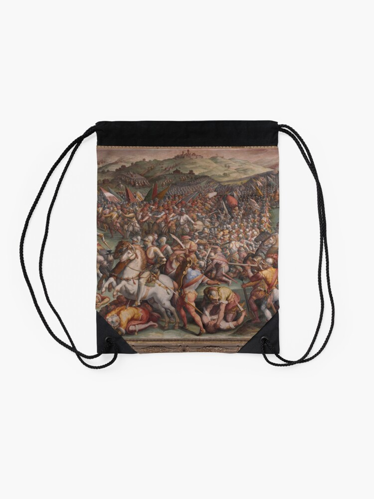 Alternate view of Classic Art The battle of Marciano in Val di Chiana By Giorgio Vasari Drawstring Bag