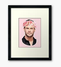 Chris Hemsworth Flower Crown Framed Print