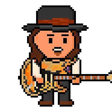 Rock Battle Pixel Blues Legend Guitarist by gkillerb