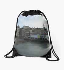 Amsterdam Water front Drawstring Bag