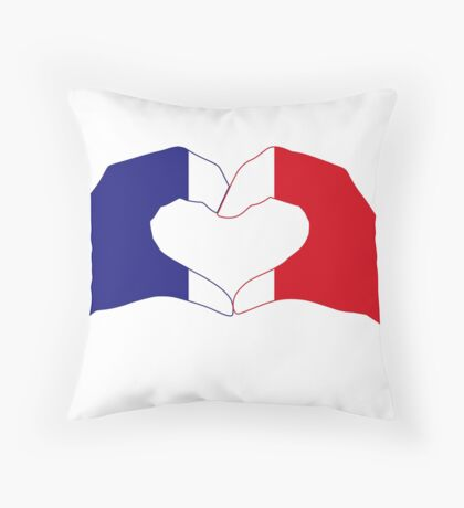 We Heart France Patriot Series Throw Pillow
