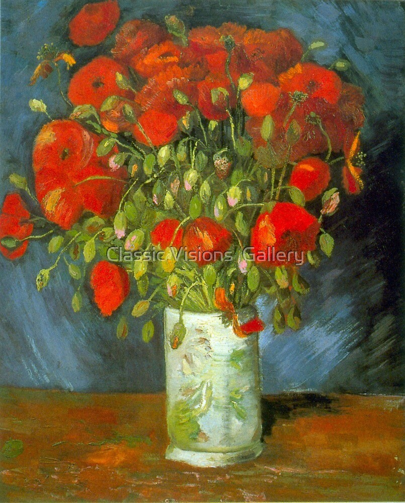 'Red Poppies' by Vincent Van Gogh (Reproduction) by Roz Abellera