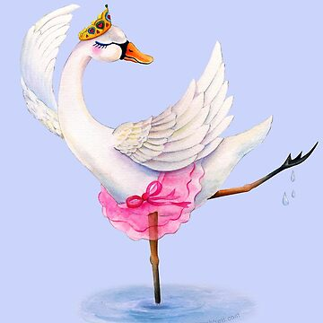 Swan ballet dancer whimsy watercolor by sarahtrett