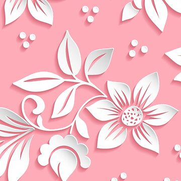 White Cut-Out Flowers on Pink by emma60