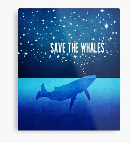 Save the Whales - Star Spouting Whale Metal Print