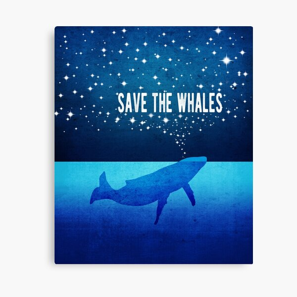 Save the Whales - Star Spouting Whale Canvas Print