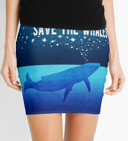 Save the Whales - Star Spouting Whale Mini Skirt
