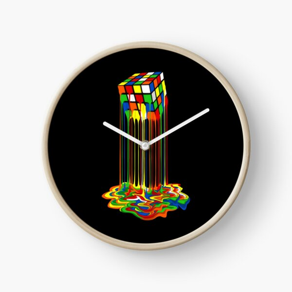 Rainbow Abstraction melted rubix cube  Clock
