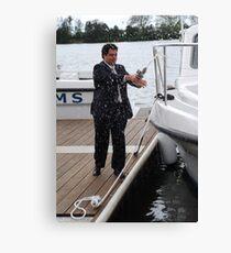 Naming a new boat Canvas Print
