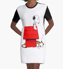Snoopy and Hobbes Graphic T-Shirt Dress