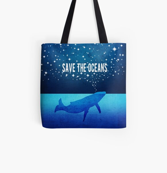 Save the Oceans - Star Spouting Whale All Over Print Tote Bag