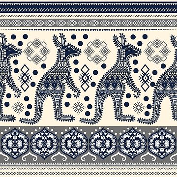 Bohemian hand-drawn seamless pattern with kangaroo and tribal ornaments. Australian indigenous style. by MilaOkie