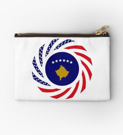 Kosovar American Multinational Patriot Flag Series Zipper Pouch