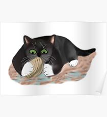 Unhappy Clam at High Tide Clasped by Kitten Poster