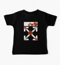 Red Rose Flower White Baby Tee