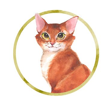 Ginger cat. Watercolor  by Gribanessa