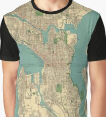 Seattle Vintage Map Graphic T-Shirt