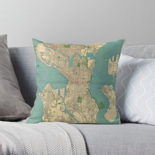 Seattle Vintage Map | Full Color Throw Pillow