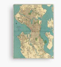 Seattle Vintage Map Canvas Print
