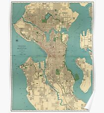 Seattle Vintage Map | Full Color Poster