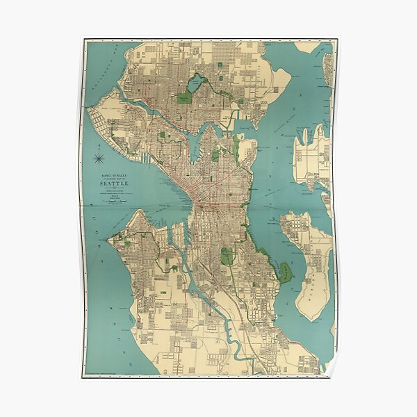 Seattle Vintage Map | Full Color Poster