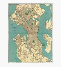 Seattle Vintage Map Photographic Print
