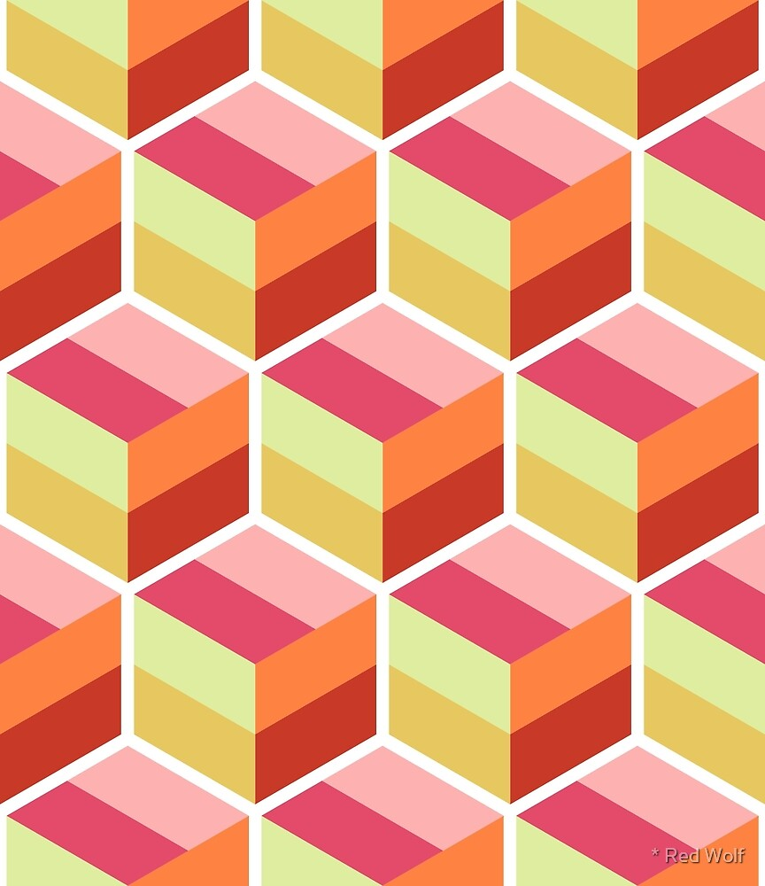 Geometric Pattern: Cube Stripe: Candy by * Red Wolf