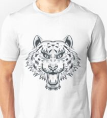 Tiger Head Tattoo Black and White Monochrome Unisex T-Shirt