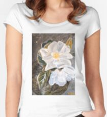 WHITE MAGNOLIA by H.Lin Women's Fitted Scoop T-Shirt