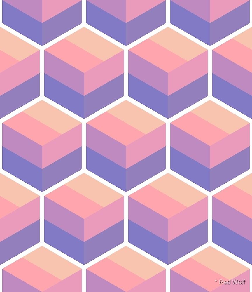 Geometric Pattern: Cube Stripe: Sunset by * Red Wolf
