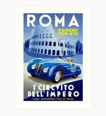 """ROMA VINTAGE GRAND PRIX"" Auto Racing Print Art Print"
