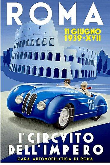 Quot Quot Roma Vintage Grand Prix Quot Auto Racing Print Quot Poster By