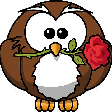 Owl bird Romantic rose flower by Patfu
