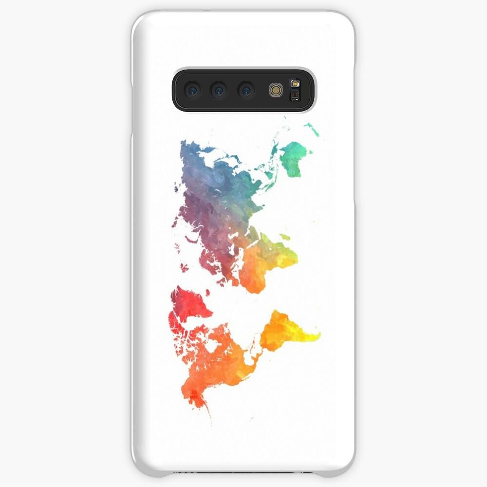 Karte der Welt gefärbt Hüllen & Klebefolien für Samsung Galaxy