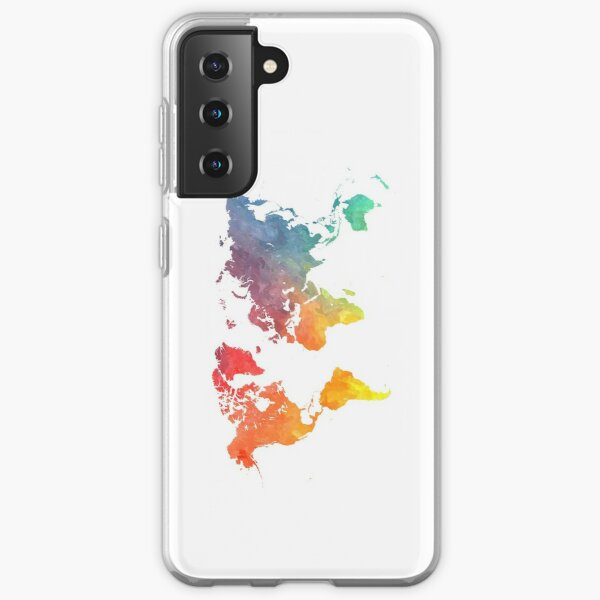Map of the world colored Samsung Galaxy Soft Case