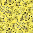 Monochrome Vintage Bicycles On Yellow  by TigaTiga